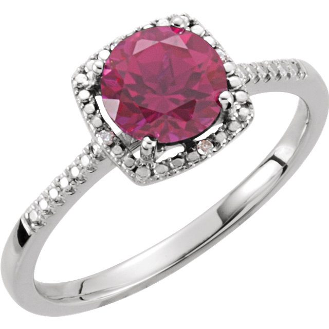 Sterling Silver Lab-Grown Ruby & .01 CTW Diamond Ring
