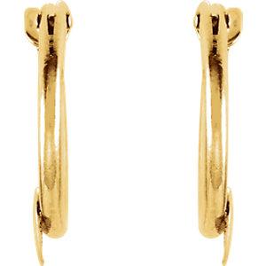 14K Yellow Hoop Earrings with Heart