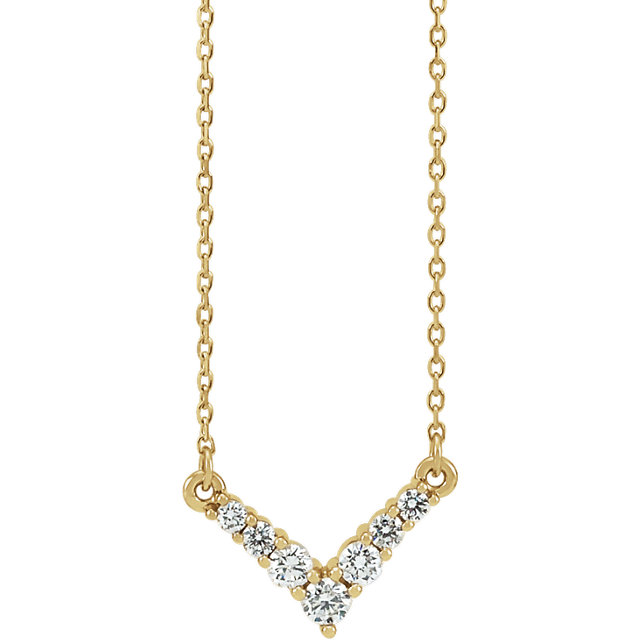 14K Yellow 1/3 CTW Diamond   V Necklace