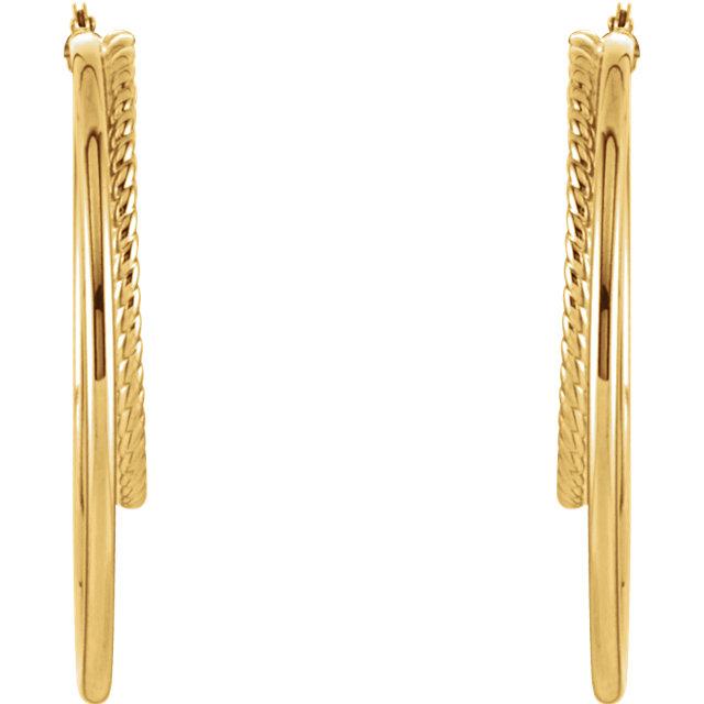 14K Yellow Oval Hoop Earrings