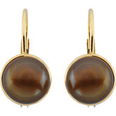Freshwater Cultured Dyed Chocolate Pearl Lever Back Earrings