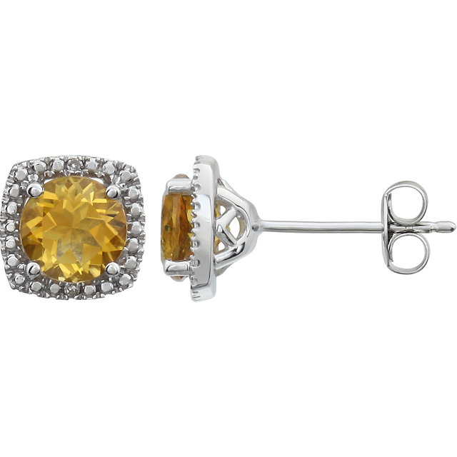 Sterling Silver Citrine & .015 CTW Diamond Earrings