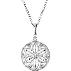 Sterling Silver .04 CTW Diamond 18