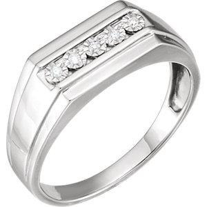 Sterling Silver Men-s .05 CTW Diamond Band Size 11