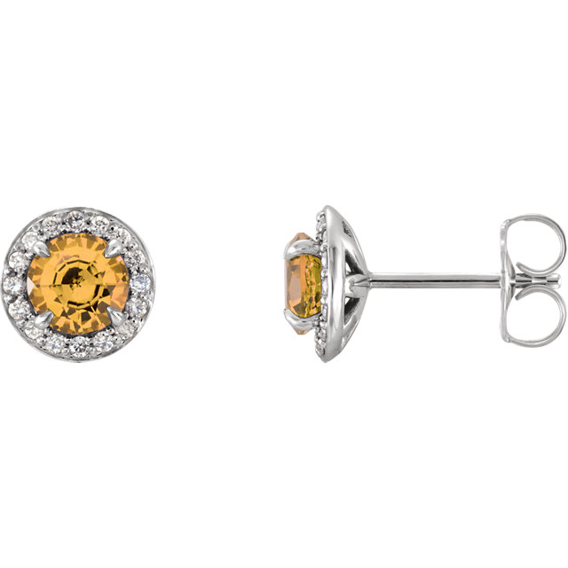 14K White 4.5mm Round Citrine & 1/6 CTW Diamond Earrings