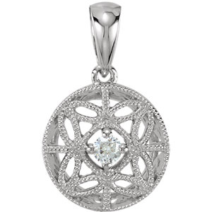 14K White 1/10 CT Diamond Filigree Pendant