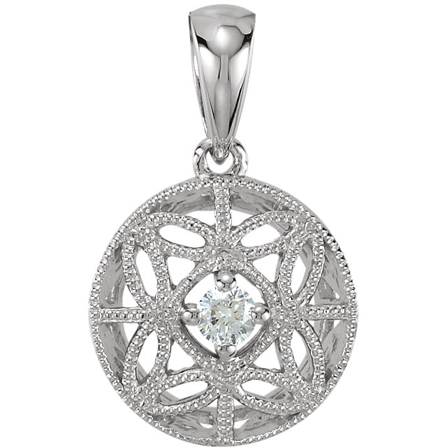 14K White 1/10 CT Diamond Filigree Pendant