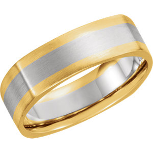14K Yellow & White 6 mm Comfort-Fit Band Size 10