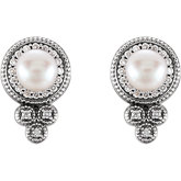 Accented Pearl Granulated Earrings