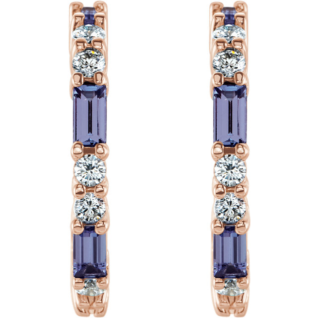 14K Rose Tanzanite & 1/2 CTW Diamond Earrings