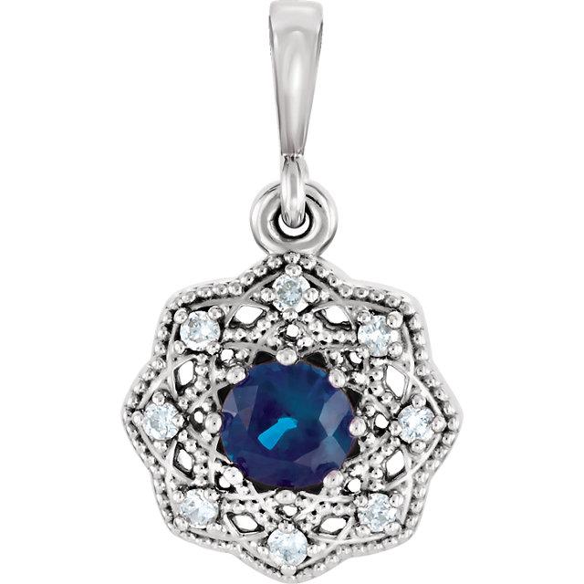 14K White Blue Sapphire & .06 CTW Diamond Halo-Style Pendant