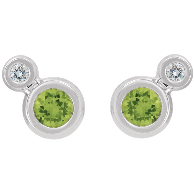 14K White Peridot & .06 CTW Diamond Earrings