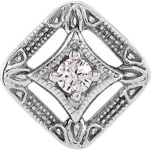 14K White .04 CT Diamond Pendant