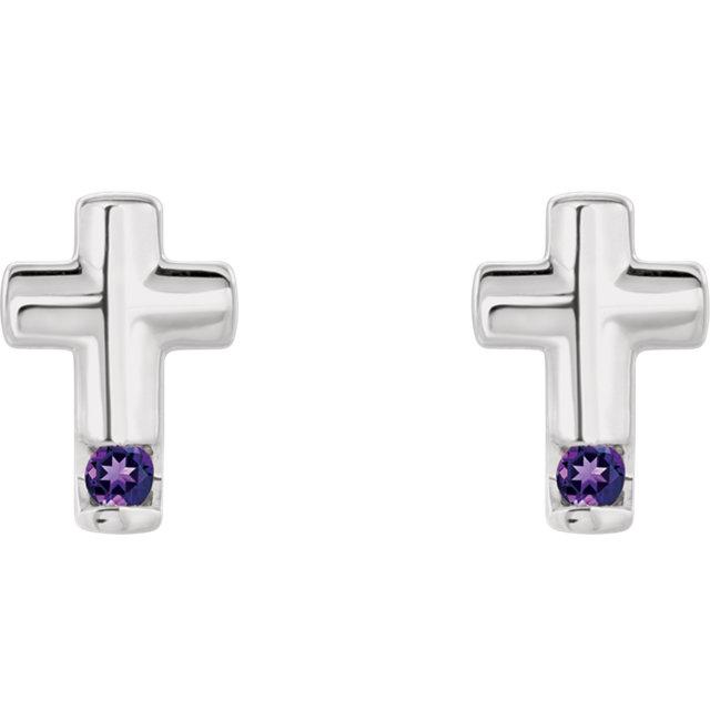 Sterling Silver Amethyst Cross Earrings