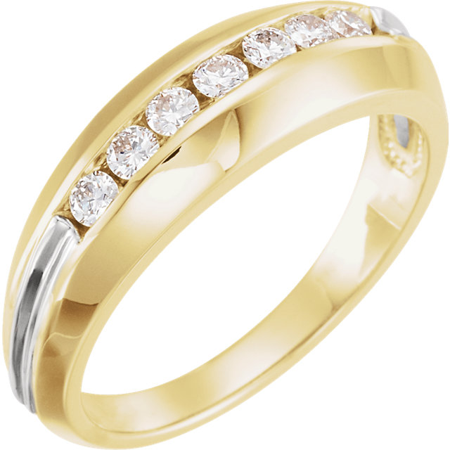 14K Yellow & White Men-s 3/8 CTW Diamond Ring