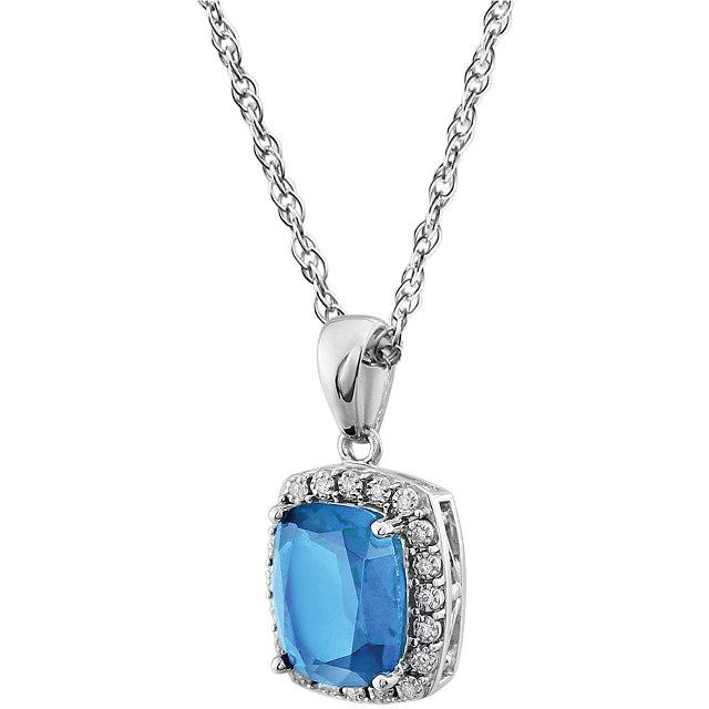 14K White Swiss Blue Topaz & .05 CTW Diamond 18