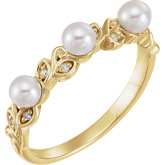 Stackable Leaf Pattern Pearl Ring