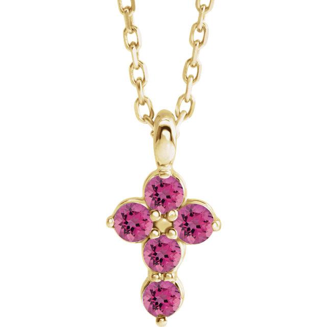14K Yellow Pink Tourmaline Cross 16-18