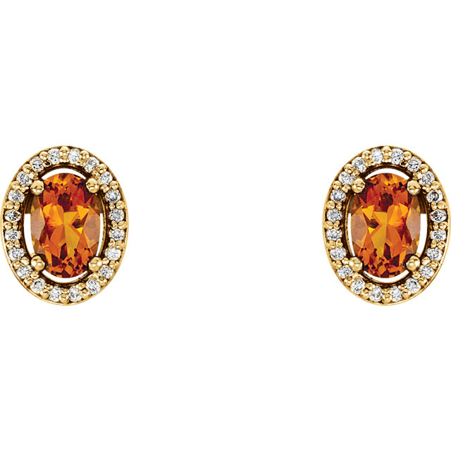 14K Yellow Citrine & 1/10 CTW Diamond Earrings