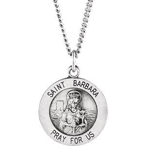 Sterling Silver 15mm St. Barbara Medal