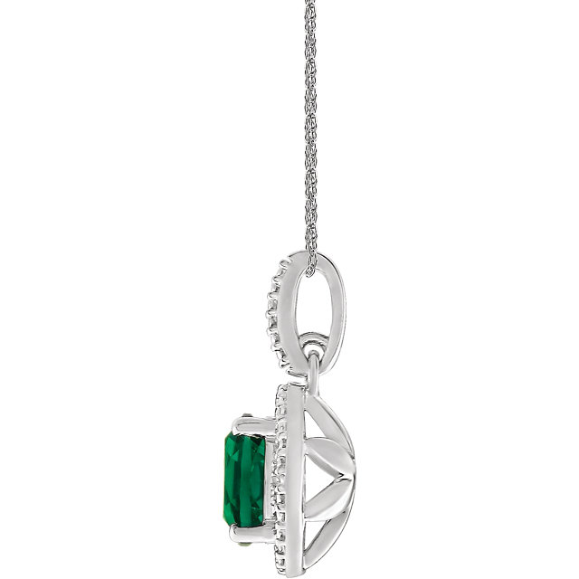 Sterling Silver Lab-Grown Emerald &.01 CTW Diamond 18