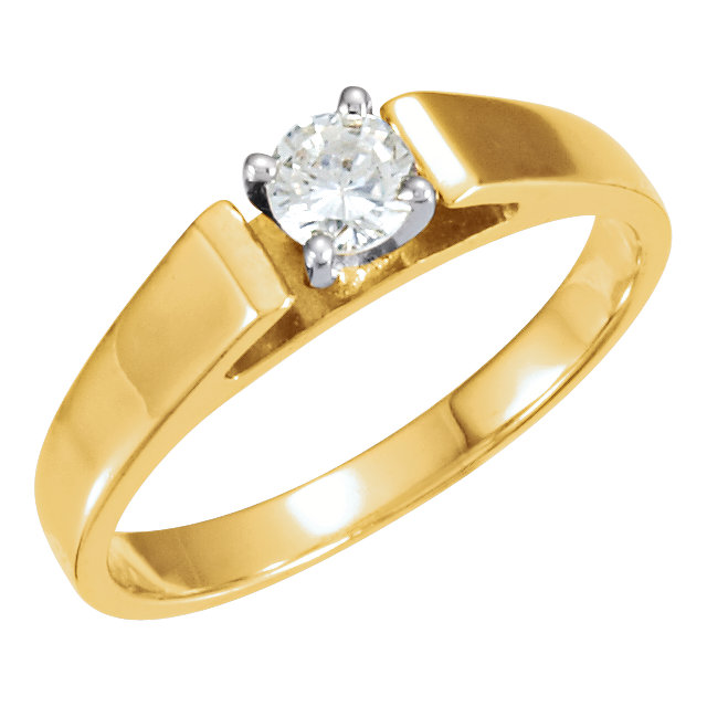 14kt Yellow 1/4 CTW Diamond 4-Prong Solitaire Engagement Ring