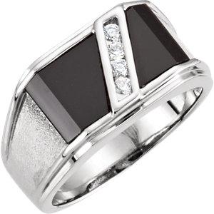 Fashion Rings , 14K White Men's Onyx & 1/8 CTW Diamond Ring