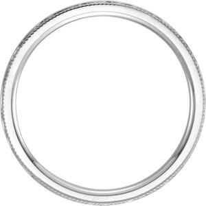14K White 2mm Flat Comfort Fit Milgrain Hammer Finish Band Size 6