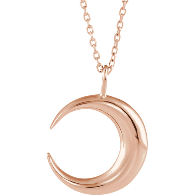 14K Rose Crescent Moon 16-18