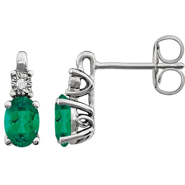 14K White Created Emerald & .02 CTW Diamond Earrings