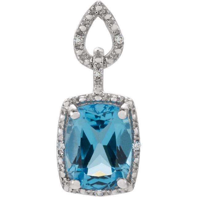 14K White Swiss Blue Topaz & .025 CTW Diamond Pendant