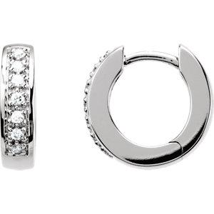 14K White 1/6 CTW Diamond Hoop Earrings