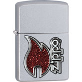 Zippo® Red Flame Satin Chrome™ Lighter