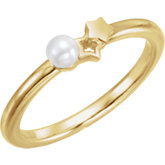 Youth Double Star Pearl Ring