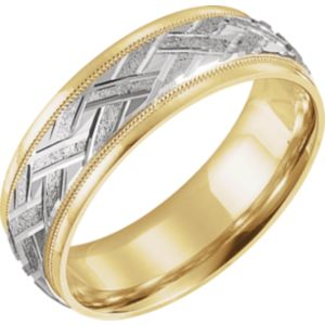 14k Yellow White 7 Mm Woven Design Comfort Fit Band Size 11 Stuller