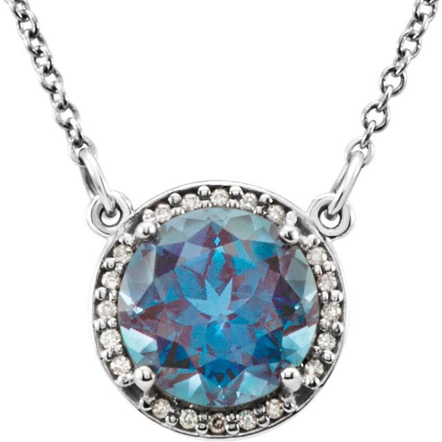 14K White 8 mm Round Chatham® Created Alexandrite & .05 CTW Diamond 16