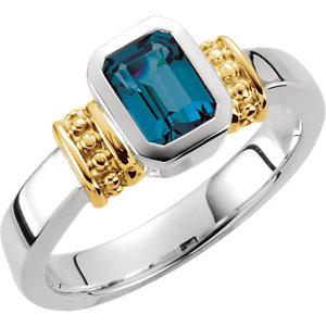 London Blue Topaz Granulated Design Ring