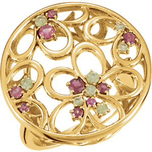 Fashion Rings , 14K Yellow Pink Tourmaline & Peridot Floral-Inspired Ring Size 7