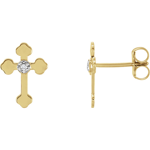 14K Yellow & White .01 CTW Diamond Cross Earrings