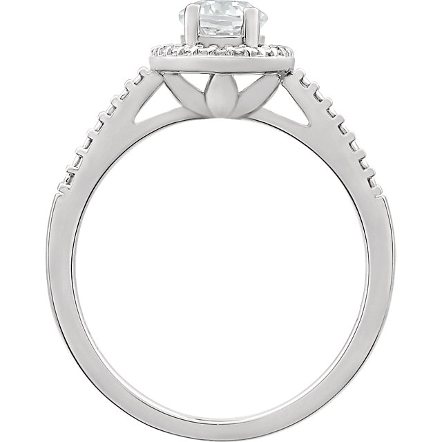 Sterling Silver Lab Created White Sapphire & .01 CTW Diamond Ring