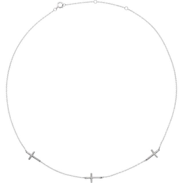 "14K White 3-Station Cross Adjustable 16-18"" Necklace"