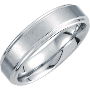 White Tungsten 6mm Ridged Band with Satin Center Size 10.5