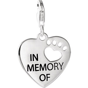 Sterling Silver Heart U Back™ In Memory Of Paw Charm