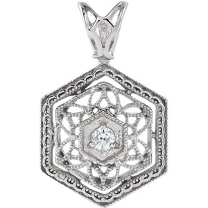 14K White .03 CT Diamond Filigree Pendant