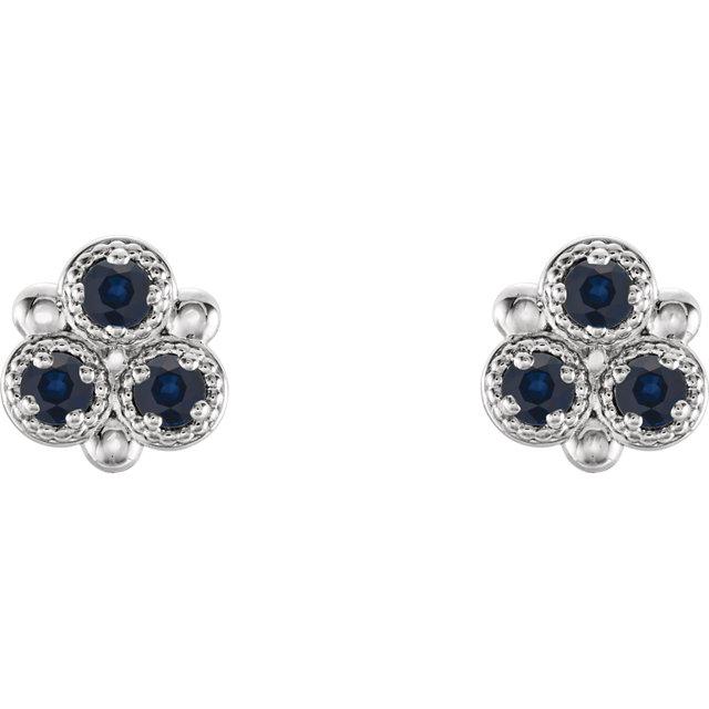 14K White Blue Sapphire Three-Stone Earrings