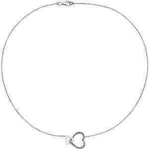 Sterling Silver .03 CTW Diamond Interlocking Heart 18