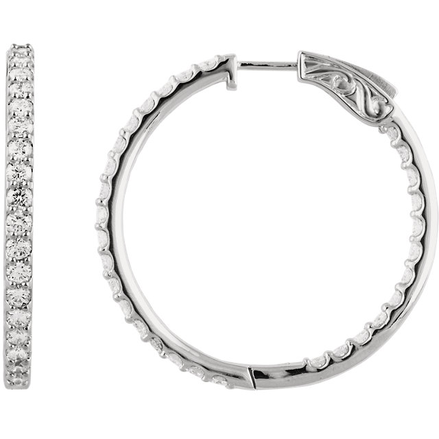 14K White 3 CTW Diamond Inside/Outside Hoop Earrings