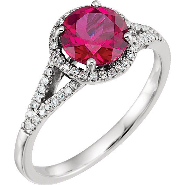 14K White Created Ruby & 1/6 CTW Diamond Ring