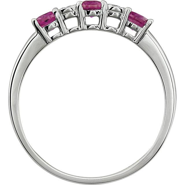14K White Created Ruby & .01 CTW Diamond Ring