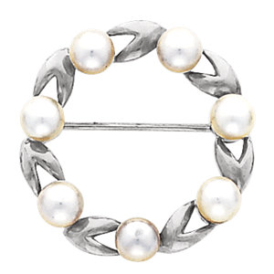14K White Brooch Mounting for Pearl